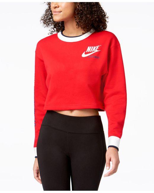 Nike - Red Sportswear Reversible Fleece Cropped Sweatshirt - Lyst