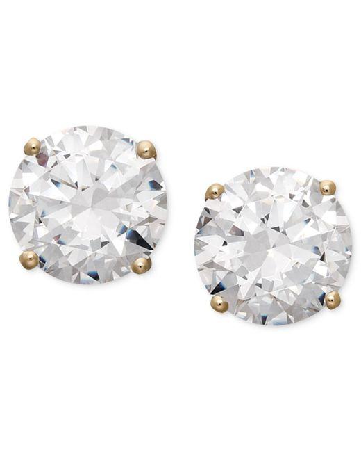 Arabella Metallic 14k White Gold Earrings, Swarovski Zirconia Round Stud Earrings (3-1/2 Ct. T.w.) (also Available In 14k Yellow Gold)