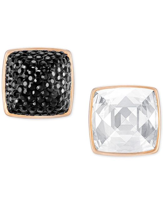 Swarovski | Metallic Rose Gold-tone Black And Clear Crystal Front-back Earrings | Lyst