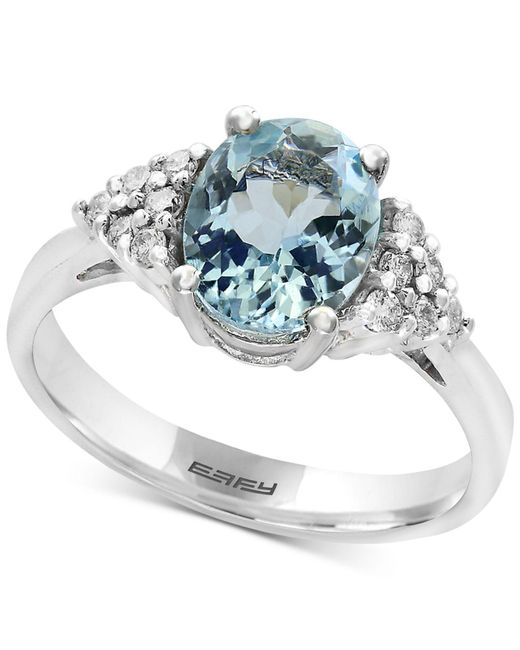 Effy Collection - Metallic Aquamarine (1-3/4 Ct. T.w.) And Diamond (1/6 Ct. T.w.) Ring In 14k White Gold - Lyst