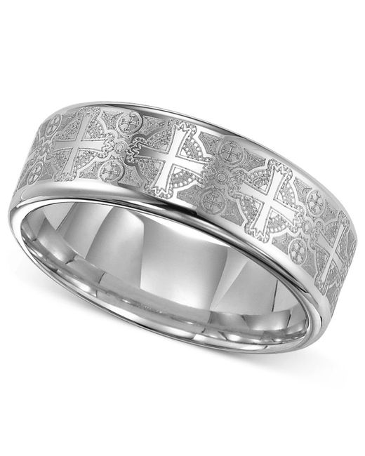 Triton Mens Tungsten Carbide Ring Comfort Fit Etched Cross Wedding Band In Metallic For Men
