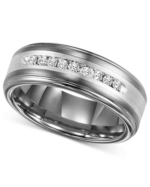 Triton   Metallic Men's Tungsten Carbide And Diamond Wedding Band Ring In Sterling Silver (1/4 Ct. T.w.) for Men   Lyst