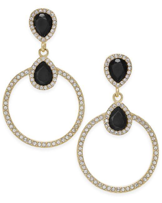 INC International Concepts   Black Gold-tone Pavé & Jet Stone Drop Earrings   Lyst