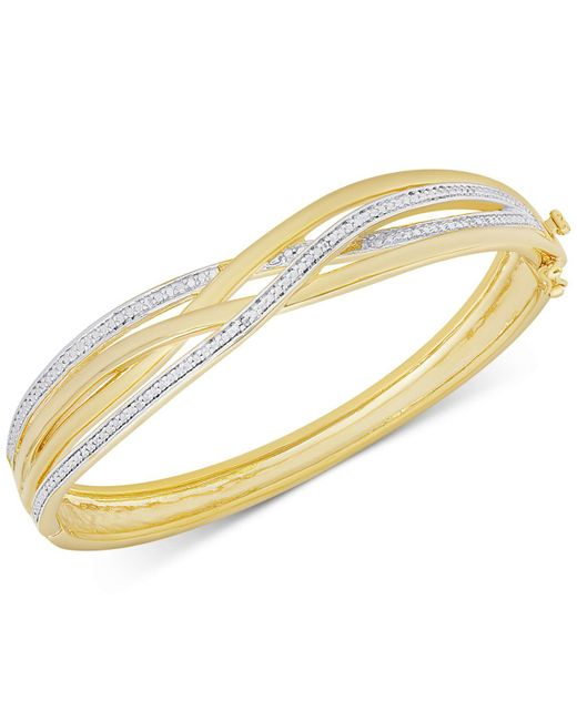 Macy's | Metallic Diamond Accent Weave-style Bangle Bracelet In Gold Over Sterling Silver-plated Brass | Lyst