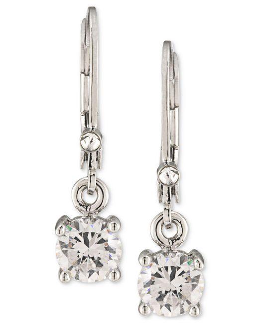 Carolee - Metallic Silver-tone Crystal Drop Earrings - Lyst