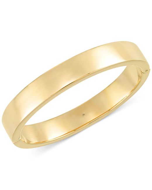 Signature Gold | Metallic Polished Hinge Bangle Bracelet In 14k Gold Over Resin | Lyst
