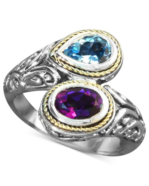 Effy Collection   Metallic Blue Topaz (3/4 Ct. T.w.) And Amethyst (3/4 Ct. T.w.) Bypass Ring In Sterling Silver And 18k Gold   Lyst