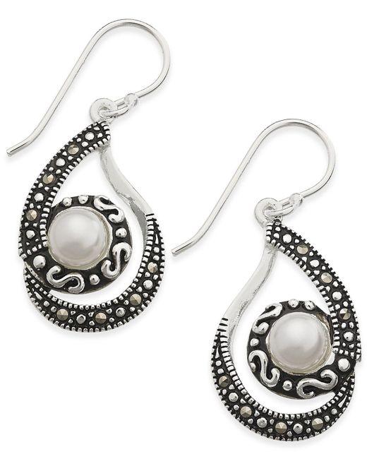 Macy's | Metallic Marcasite & Imitation Pearl Swirl Drop Earrings In Silver-plate | Lyst