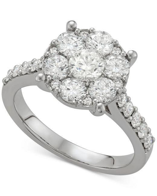 Macy's | Metallic Diamond Halo Cluster Engagement Ring (2 Ct. T.w.) In 14k White Gold | Lyst