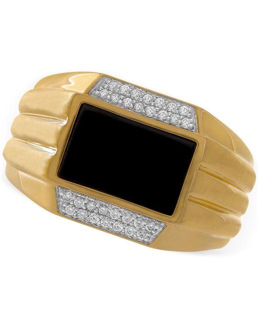 Macy's   Metallic Men's Onyx (11 X 7mm) & Diamond (1/6 Ct. T.w.) Ring In 10k Gold for Men   Lyst