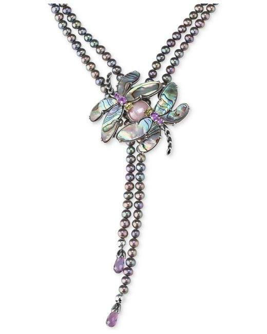 Carolyn Pollack | Metallic Freshwater Peacock Pearl (5mm) & Multi-gemstone (33 Ct. T.w.) Dragonfly Lariat Necklace In Sterling Silver | Lyst