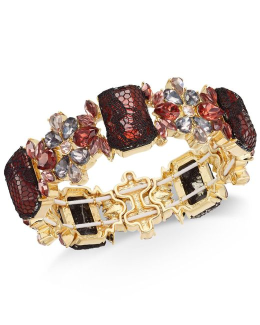 INC International Concepts - Metallic I.n.c. Gold-tone Stone & Lace Stretch Bracelet, Created For Macy's - Lyst