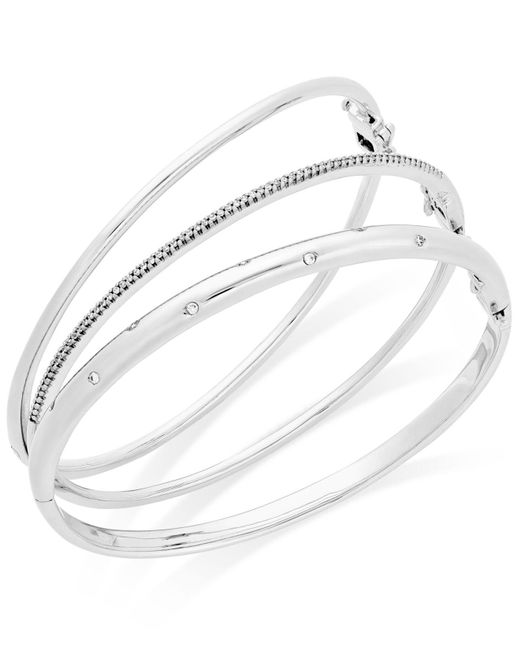 Macy's | Red Diamond (1/4 Ct. T.w.) Stackable Trio Bangle Bracelet Set In 14k Gold-plated Sterling Silver | Lyst