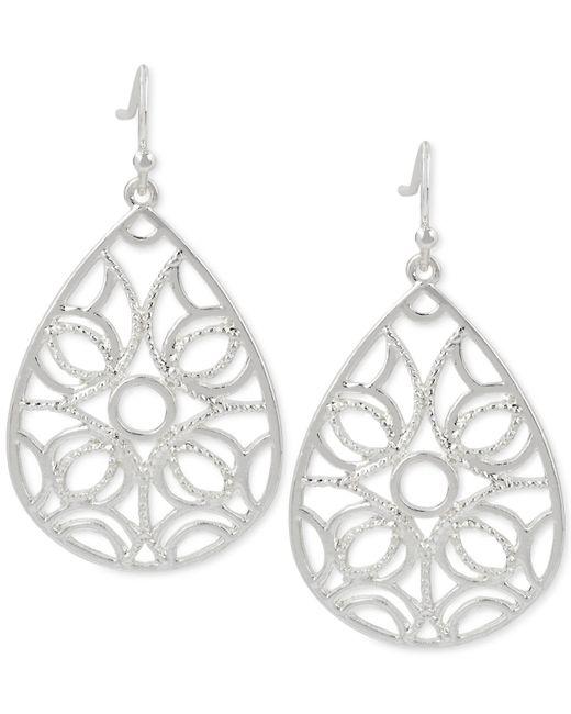 Touch Of Silver   Metallic Teardrop Filigree-patterned Drop Earrings In Silver-plated Metal   Lyst