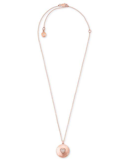Michael Kors   Metallic Rose Gold-tone Pavé Heart Logo Locket Pendant Necklace   Lyst
