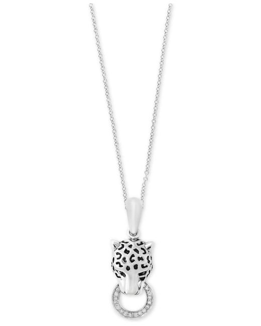 Effy Collection | Metallic Diamond Panther Head Pendant Necklace (1/8 Ct. T.w.) In Sterling Silver | Lyst