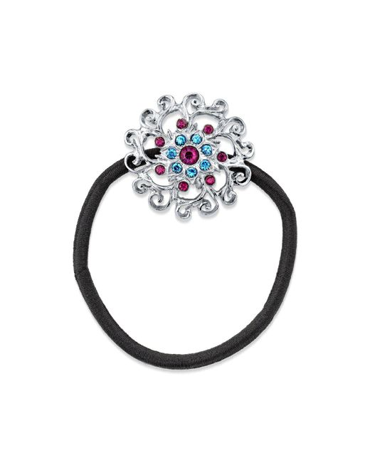 2028 - Metallic Silver-tone Light Blue And Amethyst Color Crystal Flower Ponytail Holder - Lyst