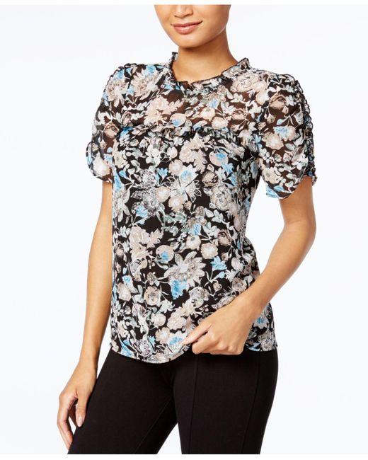 Kensie   Black Ruffled Floral-print Top   Lyst