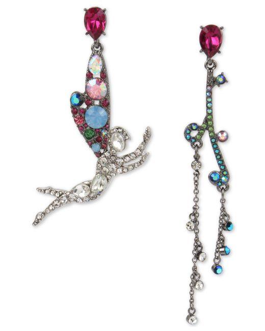 Betsey Johnson - Metallic Two-tone Crystal Fairy Mismatch Drop Earrings - Lyst