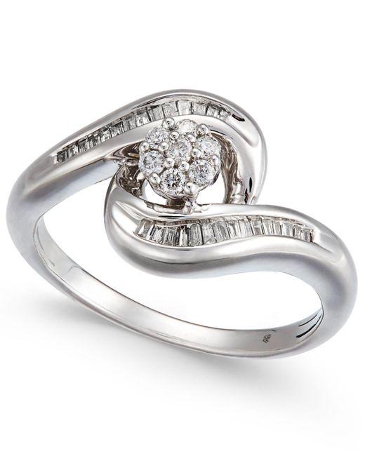 Macy's - Metallic Diamond Swirl Cluster Promise Ring (1/4 Ct. T.w.) In Sterling Silver - Lyst