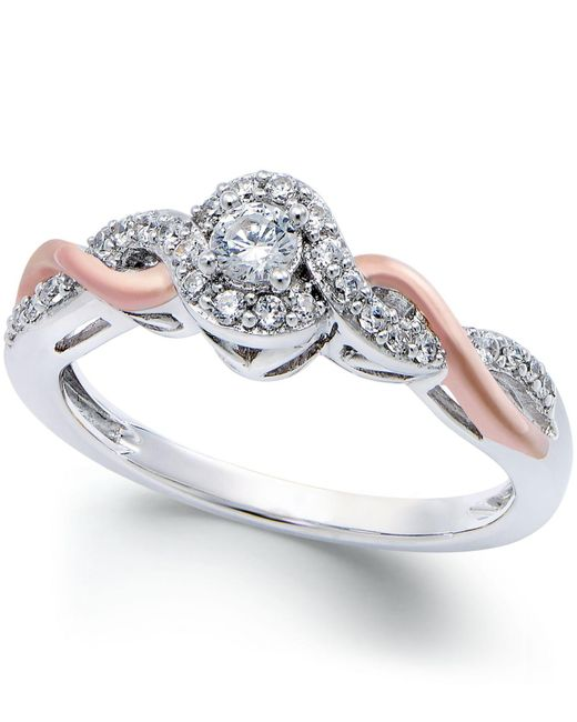 Macy's - Metallic Diamond Twist Promise Ring In Sterling Silver And 14k Rose Gold (1/5 Ct. T.w.) - Lyst
