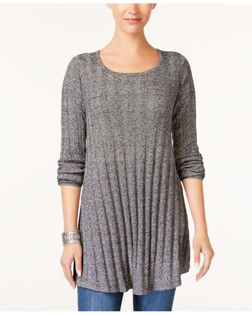 Style & Co. | Black Ribbed Knit Tunic | Lyst