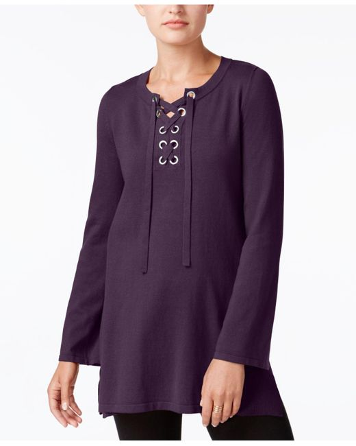 Style & Co. | Multicolor Lace-up Tunic Sweater | Lyst