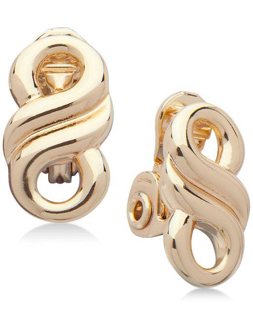 Anne Klein   Metallic Gold-tone Infinity Clip-on Button Earrings   Lyst