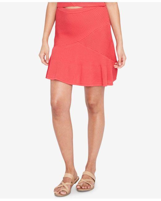 RACHEL Rachel Roy | Pink Ribbed Fit & Flare Skirt | Lyst