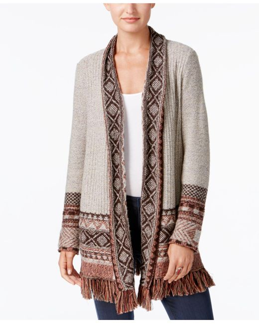 Style & Co. | Brown Petite Jacquard Fringe Cardigan | Lyst