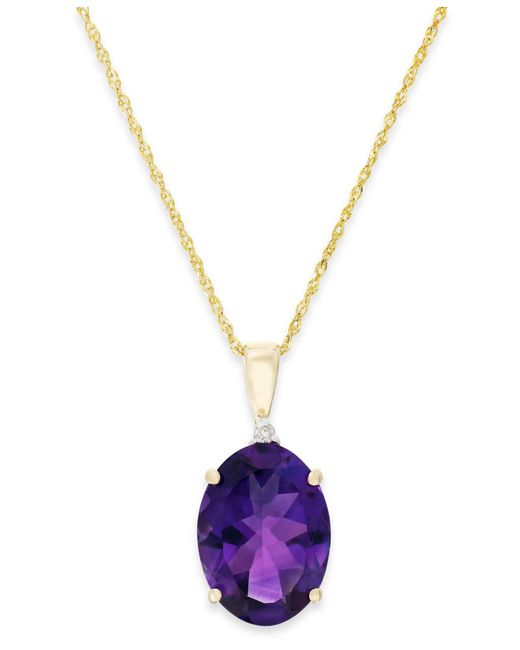 Macy's - Metallic Amethyst (5 Ct. T.w.) And Diamond Accent Pendant Necklace In 14k Gold - Lyst