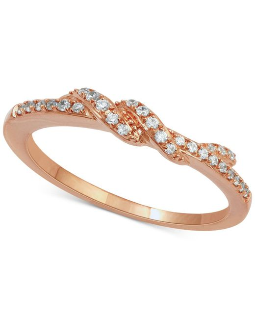 Macy's - Metallic Diamond Twist Ring (1/7 Ct. T.w.) In 14k Rose Gold - Lyst