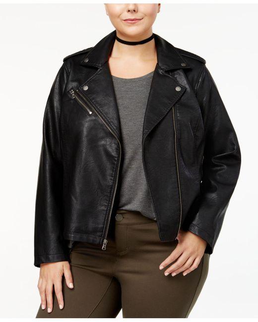 Levi's - Black Plus Size Faux-leather Moto Jacket - Lyst