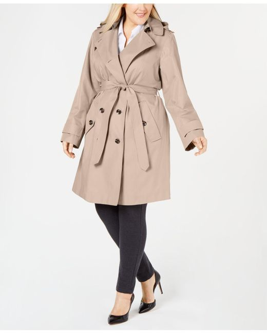 08d04b59e8a London Fog - Natural Plus Size Double-breasted Trench Coat - Lyst ...