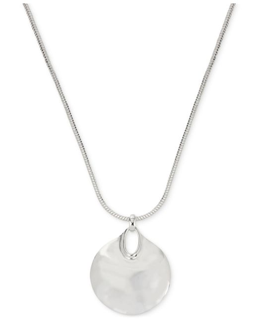 Robert Lee Morris - Metallic Silver-tone Hammered Disc Pendant Necklace - Lyst