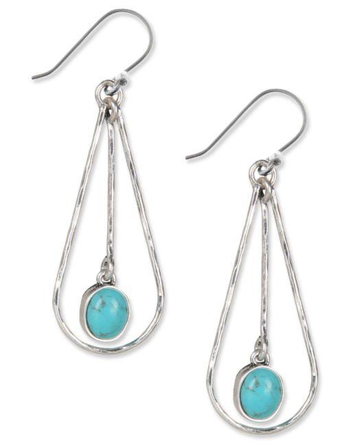 Lucky Brand - Metallic Earrings, Silver-tone Turquoise Drop Oblong Hoop Earrings - Lyst