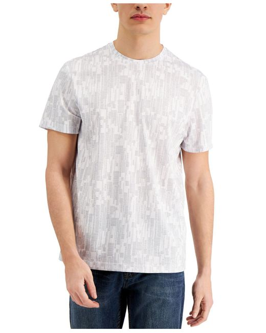 Alfani Gray Dash Print T-shirt, Created For Macy's for men
