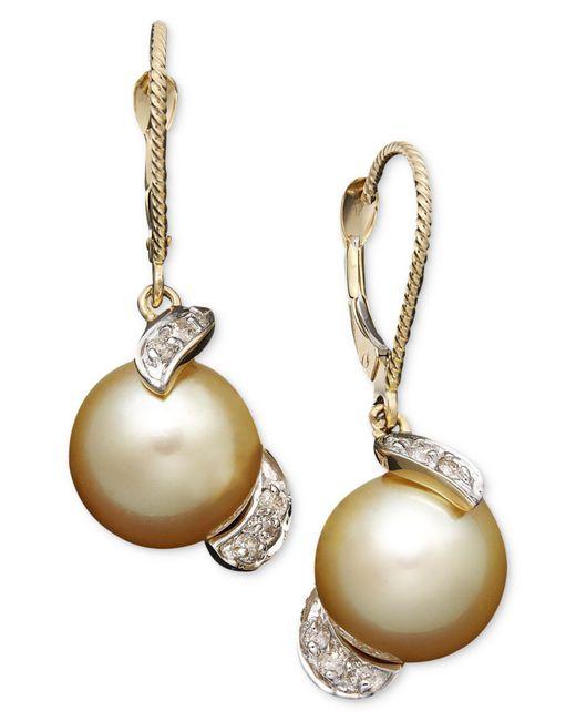 Macy's Metallic 14k Gold Earrings, Cultured Golden South Sea Pearl (9mm) And Diamond (1/5 Ct. T.w.) Drop Earrings