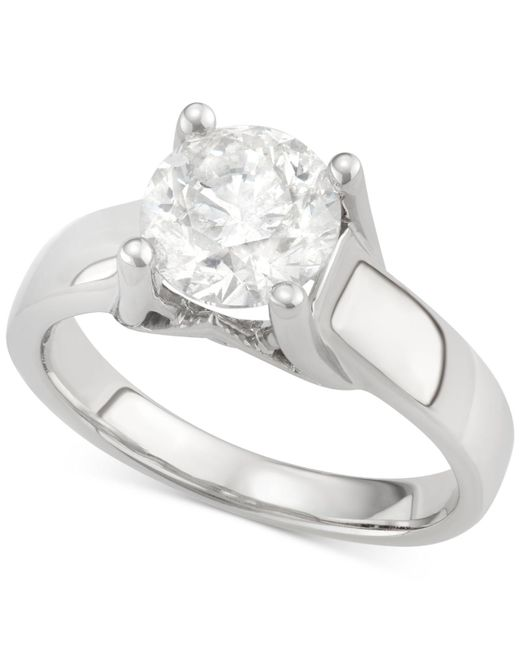Macy's - Metallic Certified Diamond Solitaire Engagement Ring In 14k White Gold (2 Ct. T.w.) - Lyst