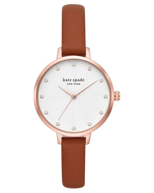 Kate Spade Multicolor Metro Brown Leather Strap Watch