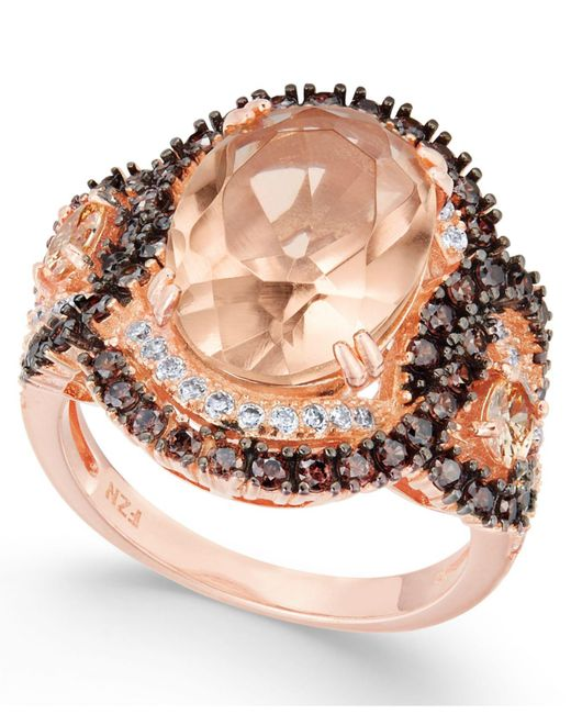 Macy's - Pink Synthetic Morganite & Cubic Zirconia Ring In 14k Rose Gold-plated Sterling Silver - Lyst