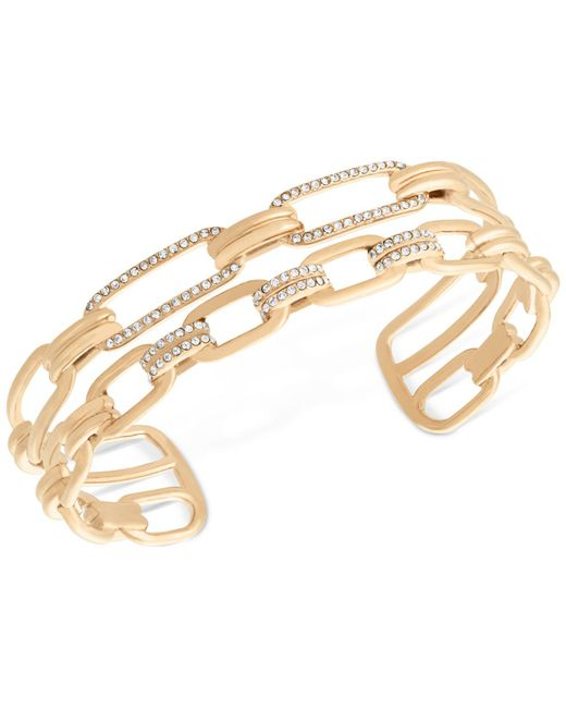 Michael Kors | Metallic Gold-tone Pavé Link Double Chain Cuff Bracelet | Lyst