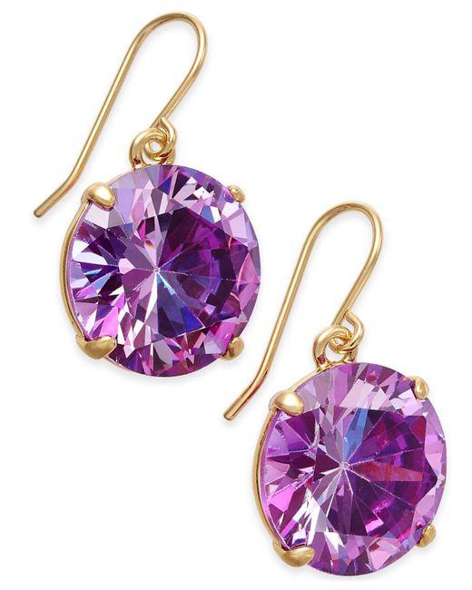 Kate Spade | Purple Shine On Gold-tone Crystal Drop Earrings | Lyst