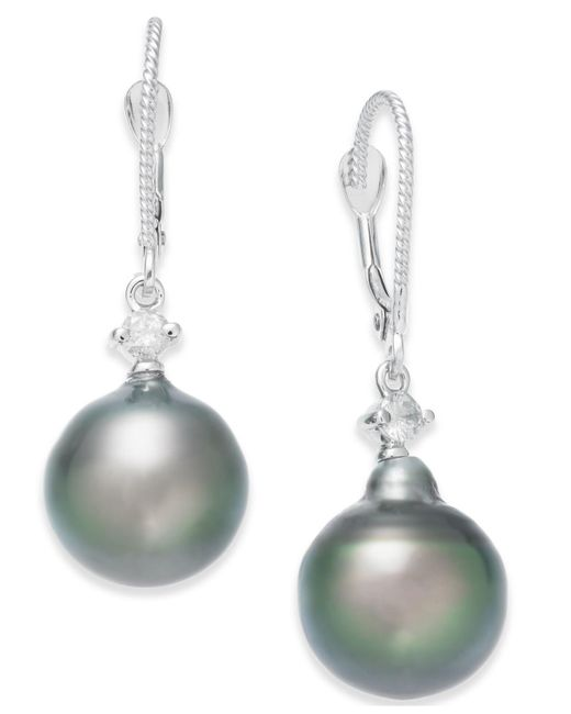 Macy's Multicolor Cultured Baroque Tahitian Black Pearl (11mm) And Diamond (1/6 Ct. T.w.) Drop Earrings In 14k White Gold