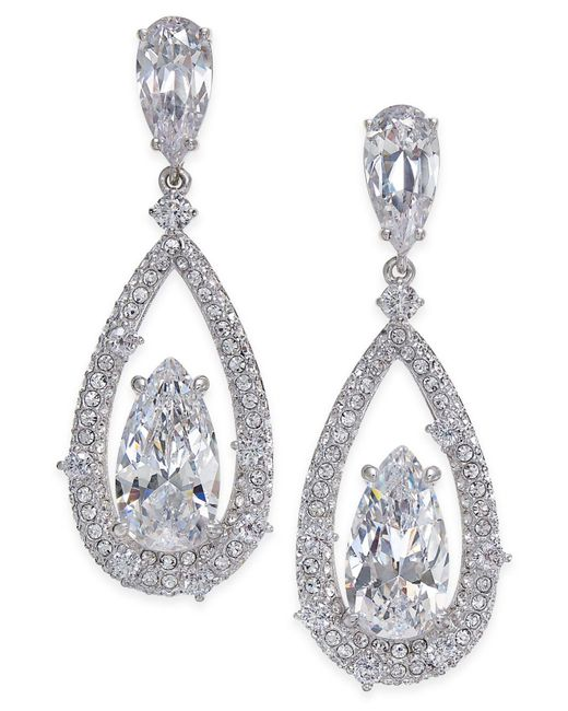 Danori | Metallic Silver-tone Cubic Zirconia Drop Earrings | Lyst