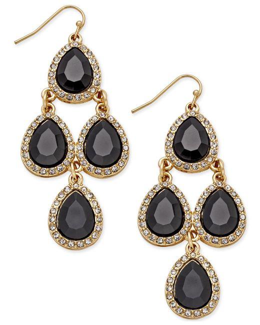 INC International Concepts   Metallic Gold-tone Jet Black Teardrop Chandelier Earrings   Lyst