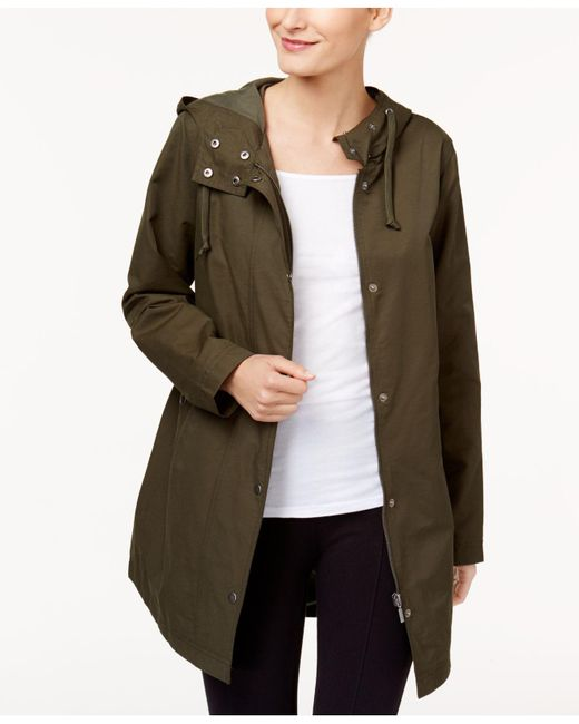 Style & Co. | Green Petite Rainy Day Hooded Utility Jacket | Lyst