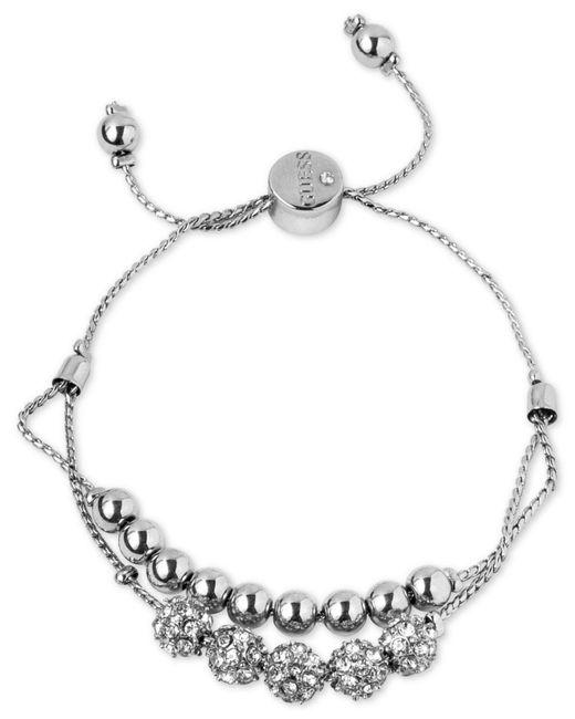 Guess - Metallic Silver-tone Pavé Beaded Double-row Slider Bracelet - Lyst