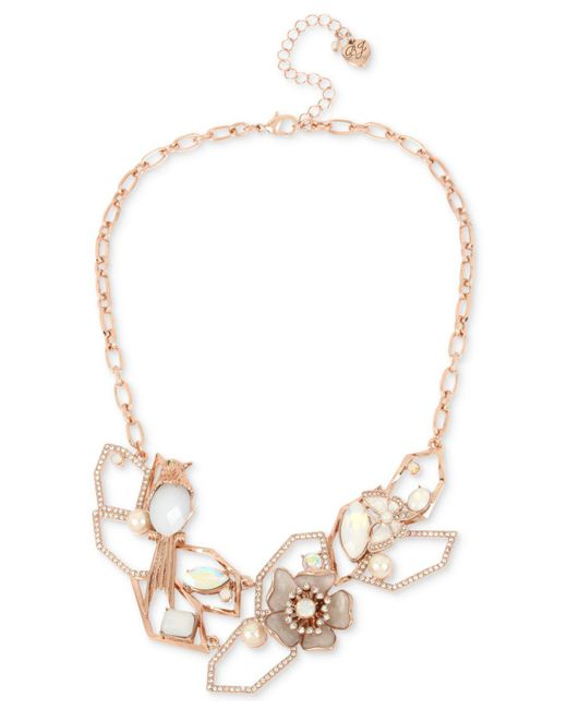 "Betsey Johnson - White Rose Gold-tone Crystal & Imitation Pearl Openwork Statement Necklace, 16"" + 3"" Extender - Lyst"