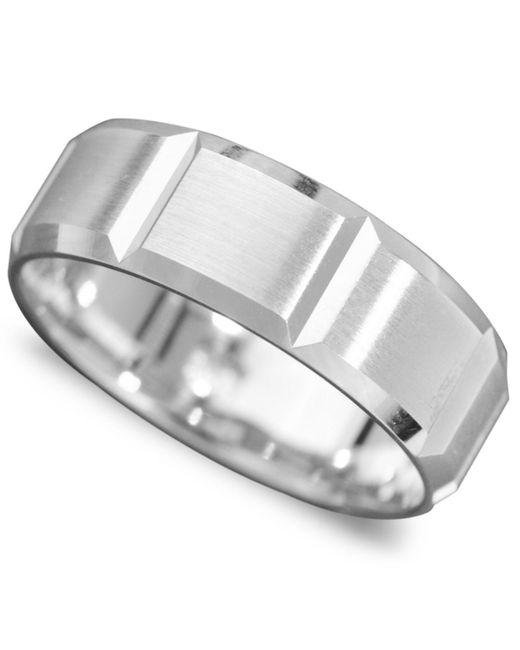 Macy's - Men's 14k White Gold Ring, Vertical Cut Band (size 6-13) for Men - Lyst